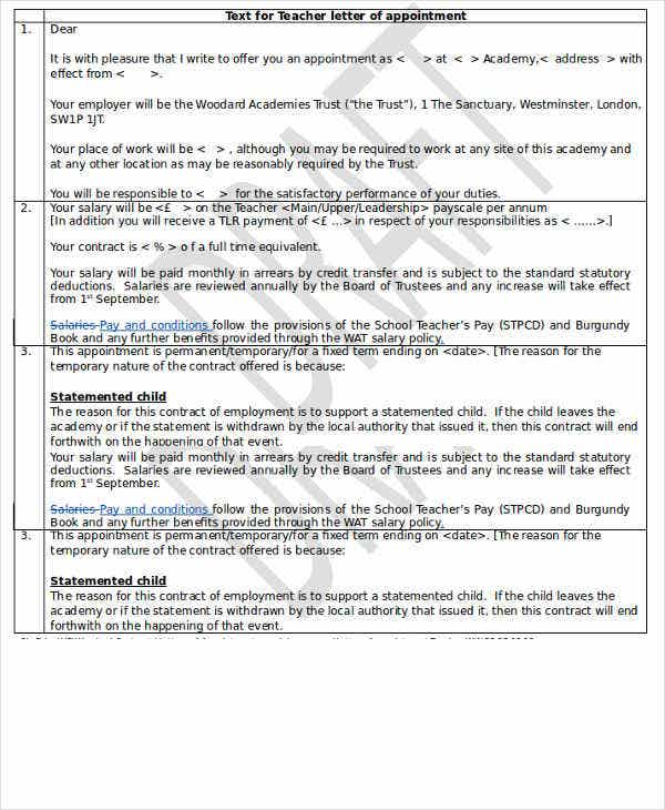school teacher appointment letter format