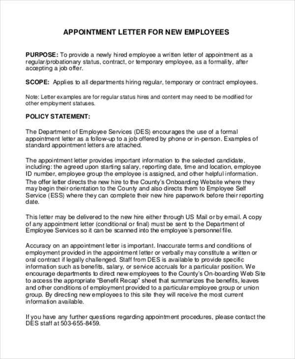 Job Appointment Letter Template 6 Free Word PDF Format Download