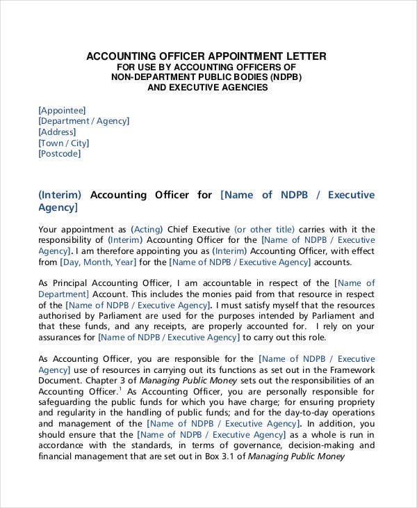 simple appointment letter format for accountant