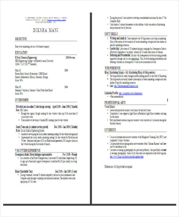 best fresher resume format