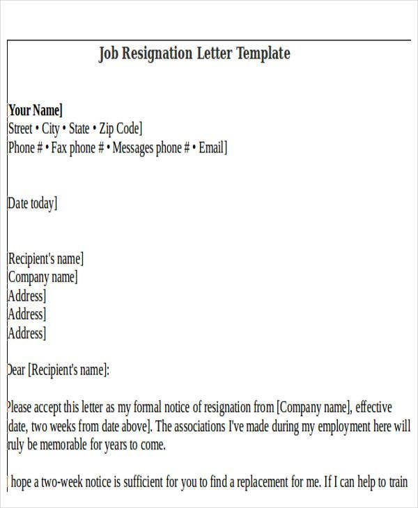 Internship Resignation. Resignation Letter Sample Probation Period