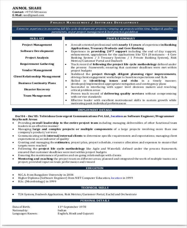 experienced resume format template 8 free word pdf