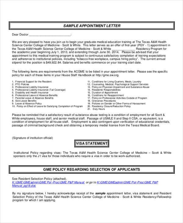 Interview Appointment Letter   Free Word Pdf Documents Download