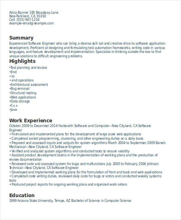 experienced resume format for software developer