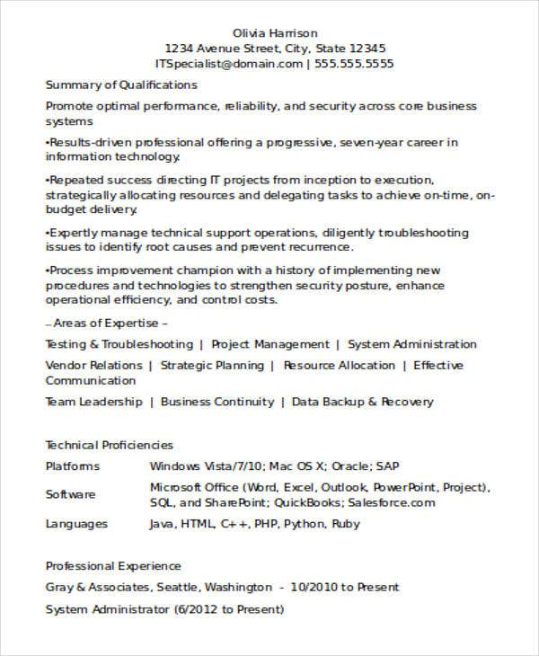 Perfect Experienced Resume Format For IT Professionals