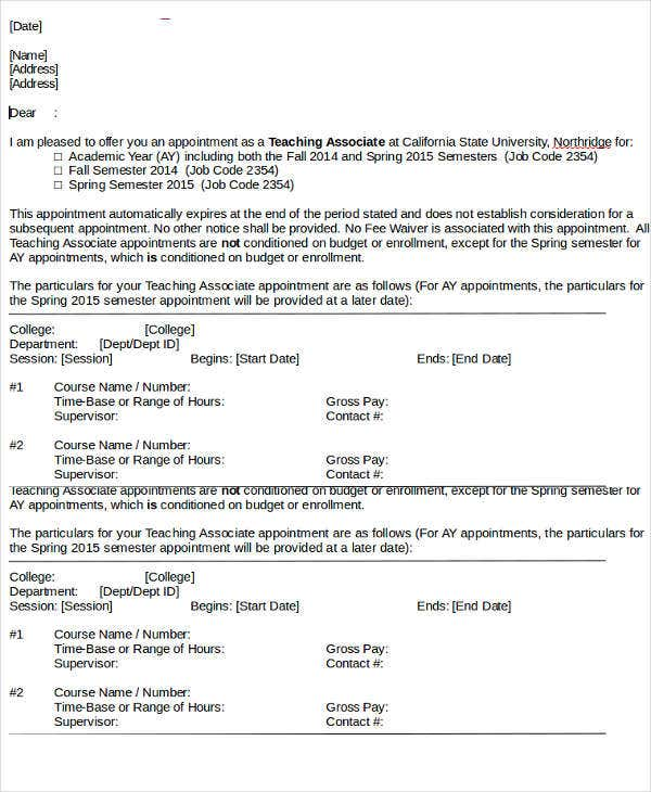 teaching associate appointment letter template