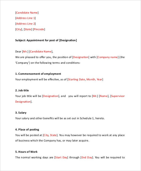 Interview Appointment Letter - 7+ Free Word, Pdf Documents