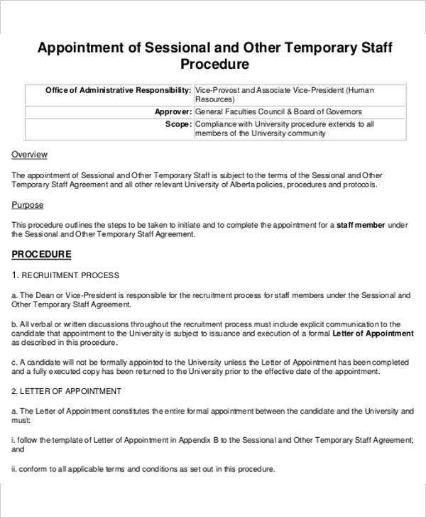 5 Temporary Appointment Letter Templates Free Word Pdf