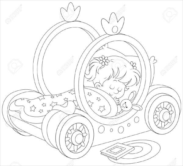 baby girl sleeping coloring page