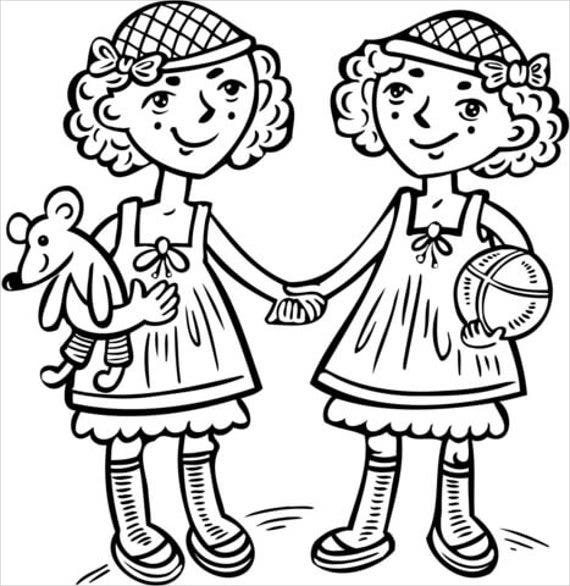twin baby girl coloring page