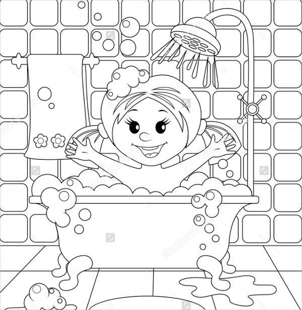 baby girl shower coloring page