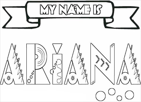 baby girl names coloring page