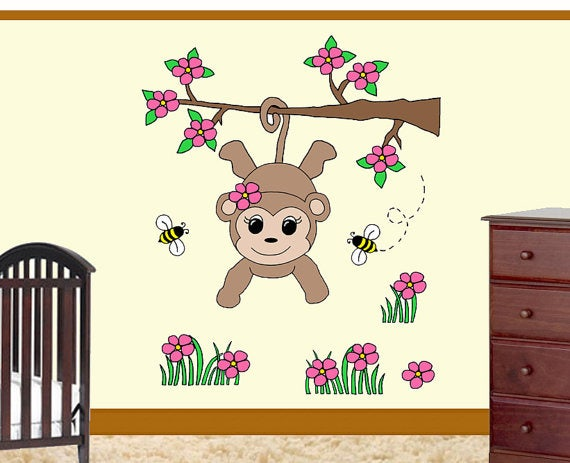 baby girl monkey coloring page