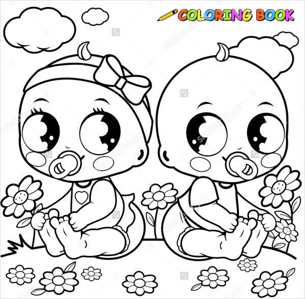 9 Baby Girl Coloring Pages JPG AI Illustrator Download Free