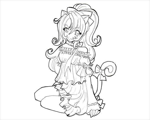 Anime Cat Coloring Page