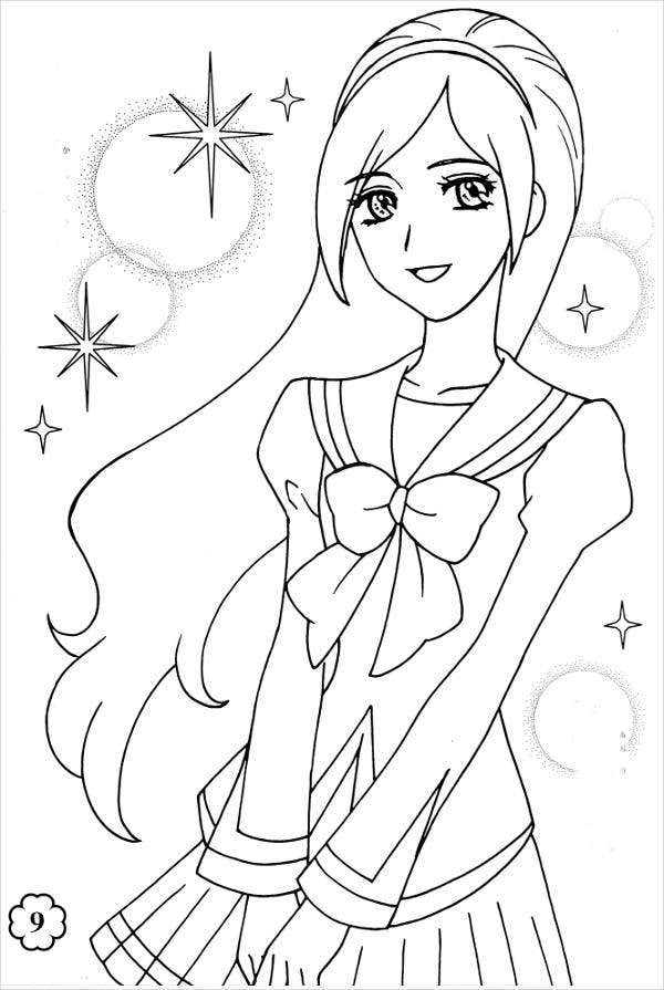 anime girl coloring page for adults