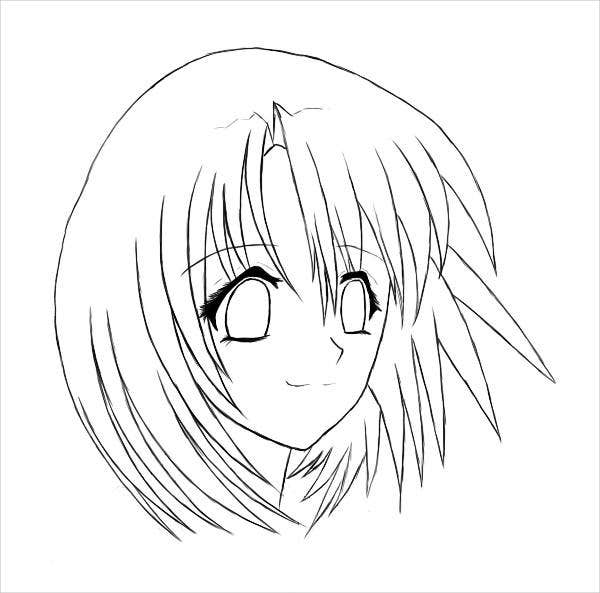 9 anime girl coloring pages pdf jpg ai illustrator for Coloring pages of girls faces