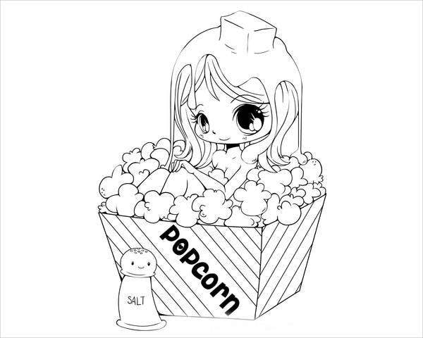 anime-pop-corn-girl-coloring-page