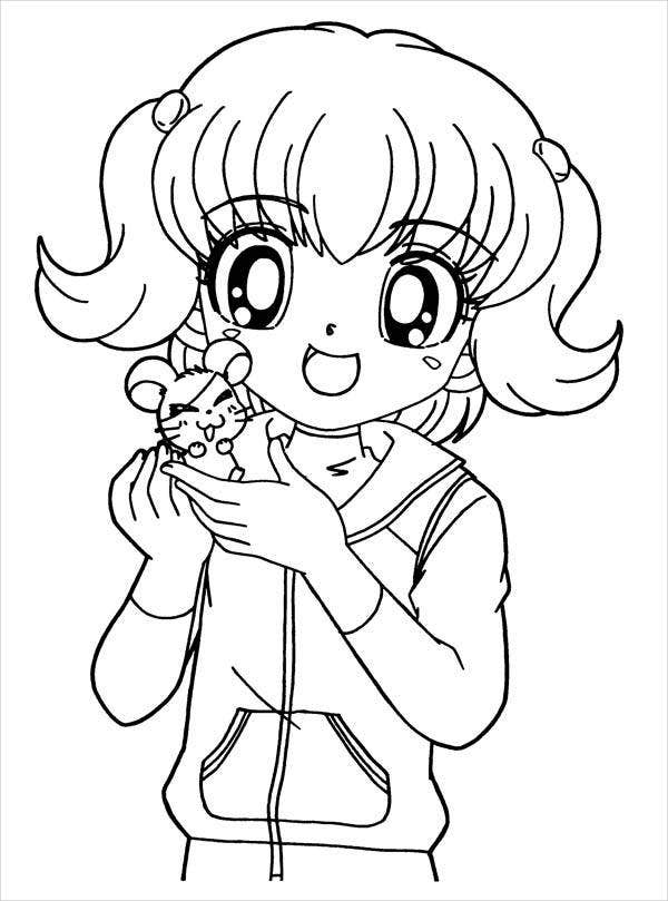 8 Anime Girl Coloring Pages PDF JPG AI Illustrator
