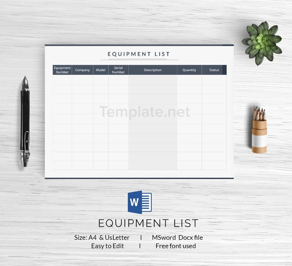 Equipment List Template