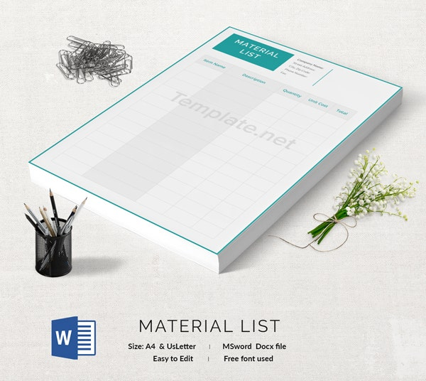 Material List Template