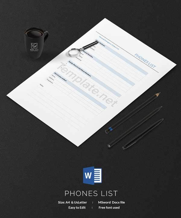 Phones List Template