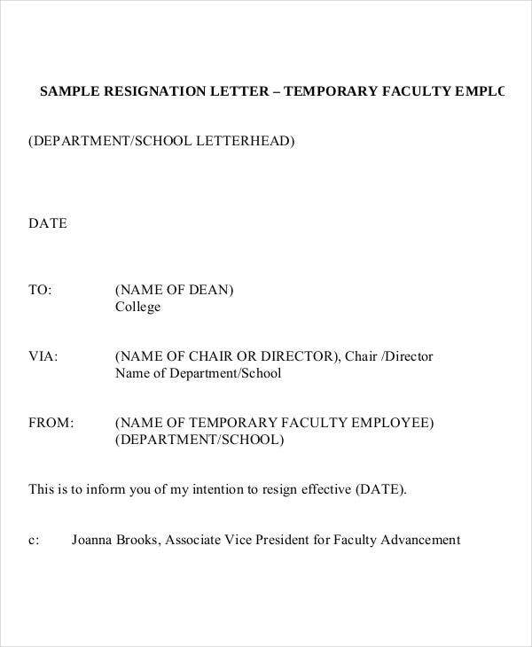 Temporary Resignation Letter Template   Free Word Pdf Format