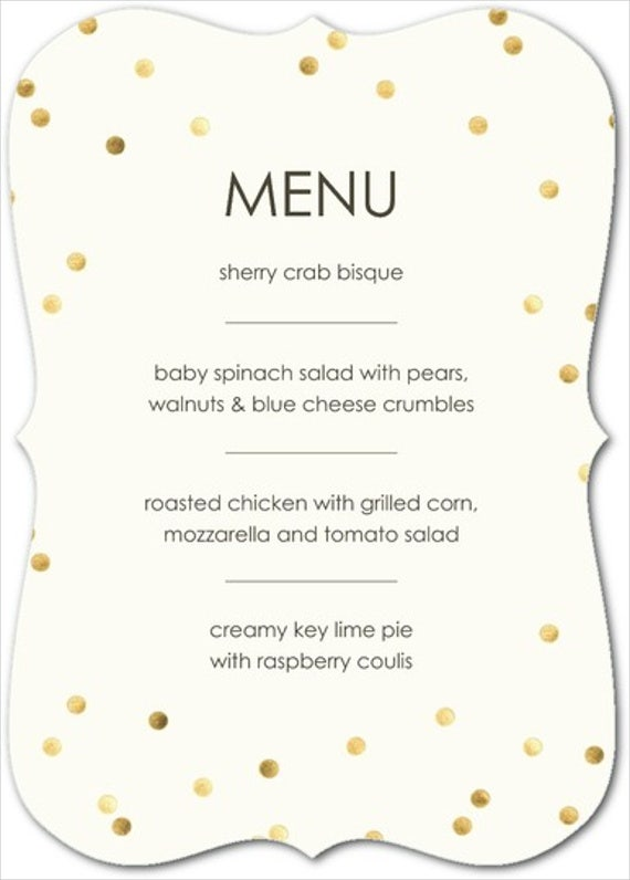 Baby Shower Menu Wording Design