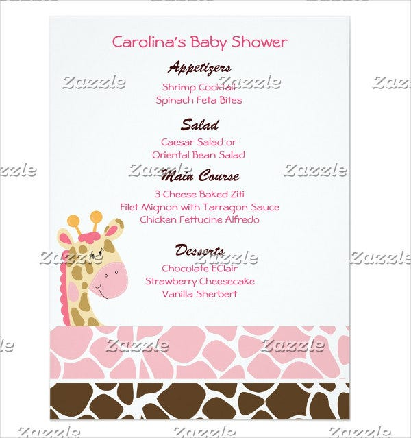 Attractive Affordable Baby Shower Menu Template