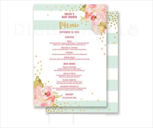 Nice DIY Baby Shower Menu Design