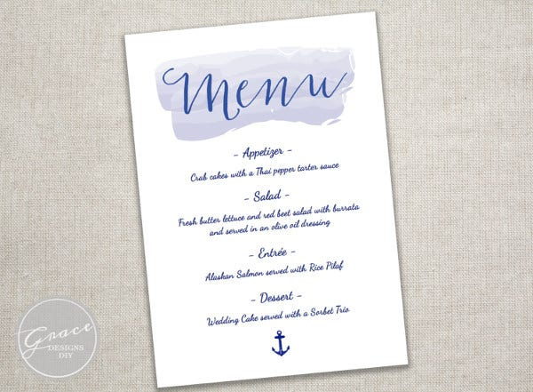baby shower menu template