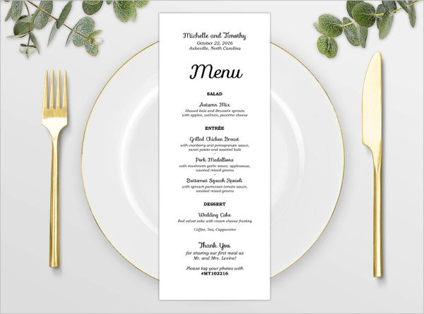 Baby Shower Food Menu Template