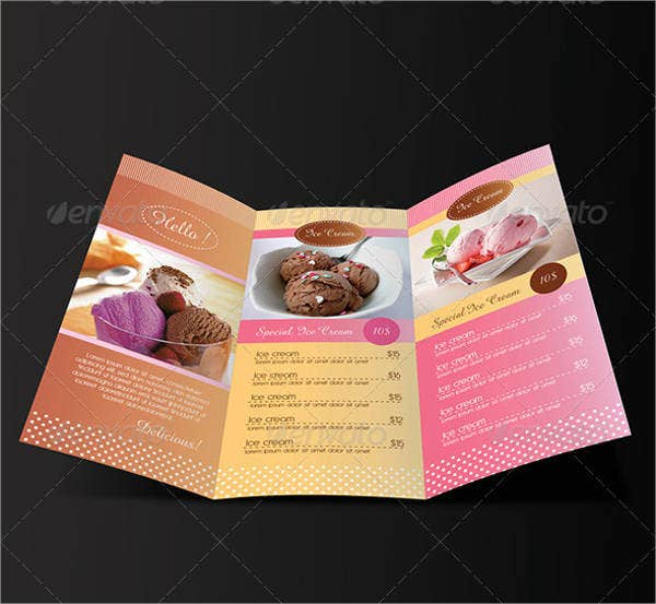 Ice Cream Trifold Menu Template