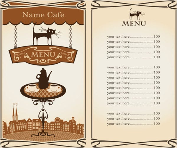 scroll cafe menu template