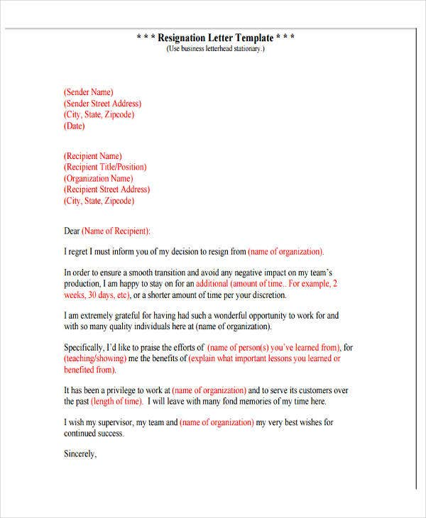 professional resignation letter with regret