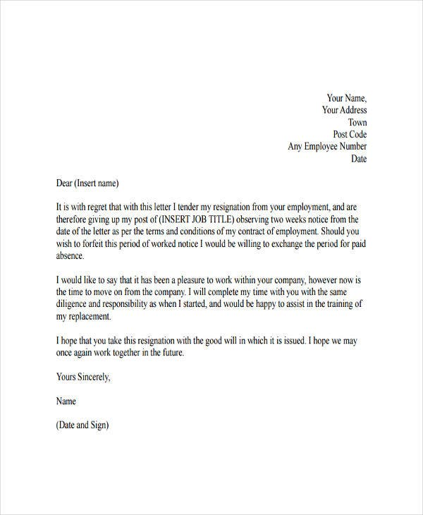 formal resignation letter with regret