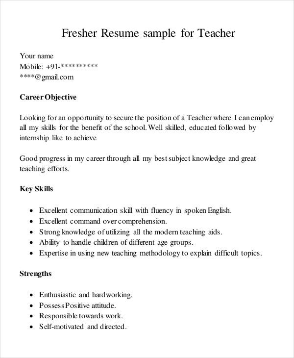 Resume for Teaching Job in School for Freshers