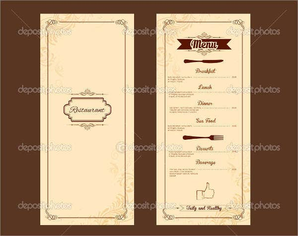 Free Printable Hotel Menu Template
