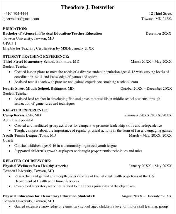 student teacher resume format physical education teaching template graduate examples sample