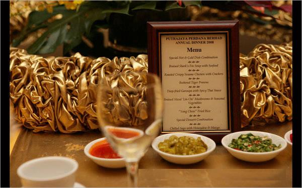 hotel dinner menu template