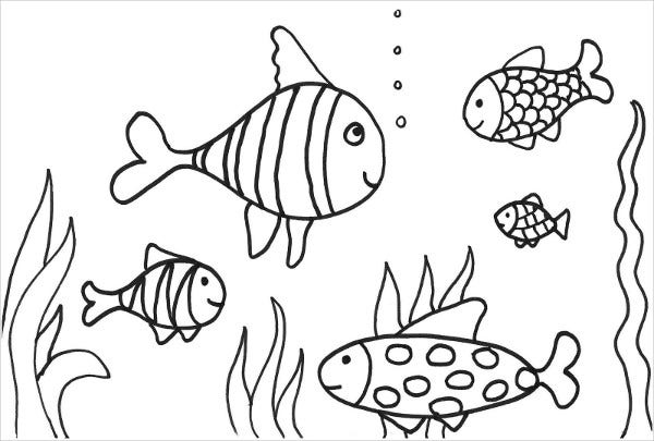 8 Fish Coloring Pages JPG AI