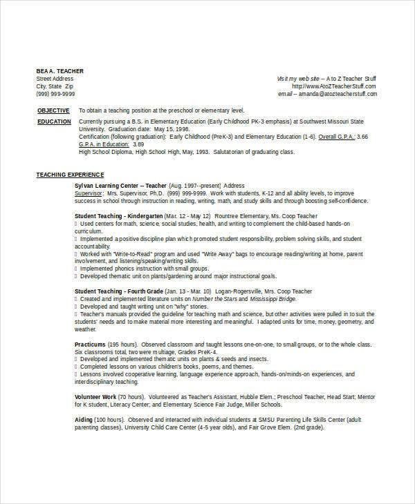 Teaching Fresher Resume 6 Free Word PDF Documents Download