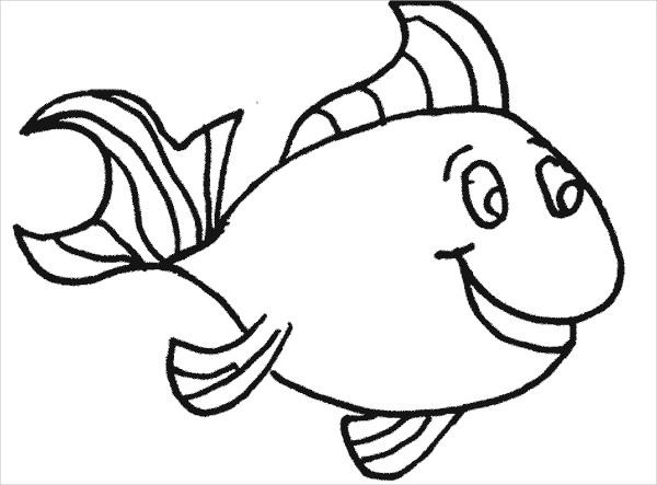 happy fish coloring page