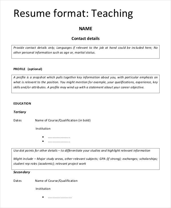 teaching resume format for fresher template - Fresher Teacher Resume Sample