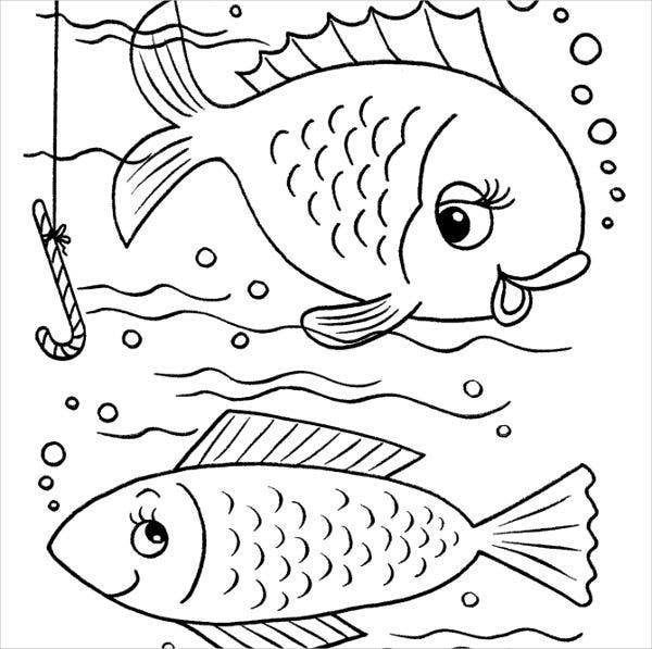 fish coloring page for pre school