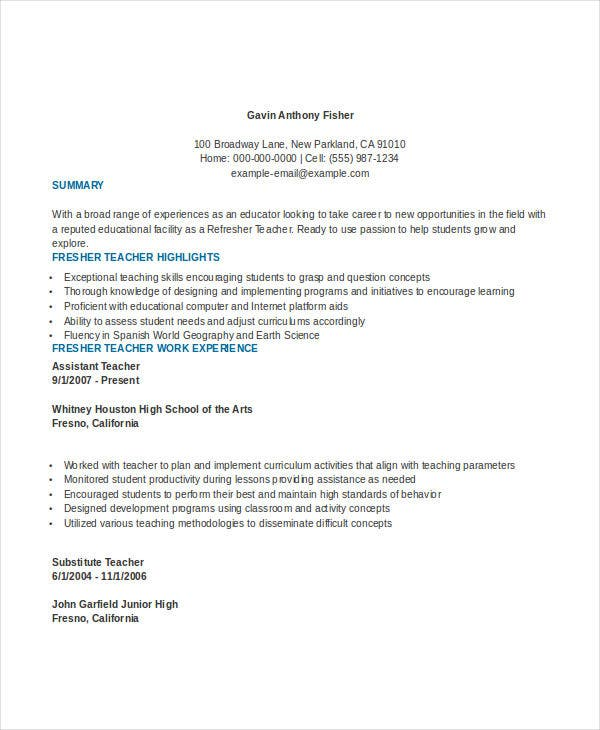 Fresher Primary Teacher Resume Template  Teacher Resume Templates