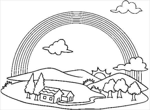 Rainbow Coloring Page with Clouds