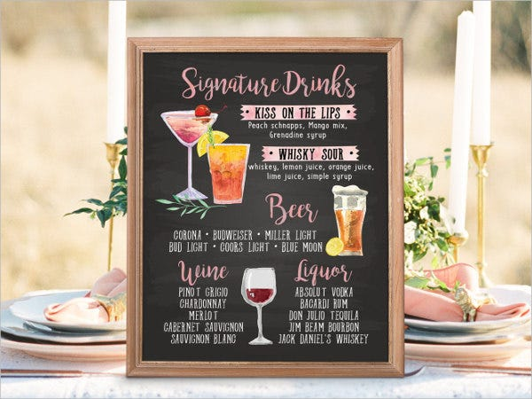 9  chalkboard wedding menu templates