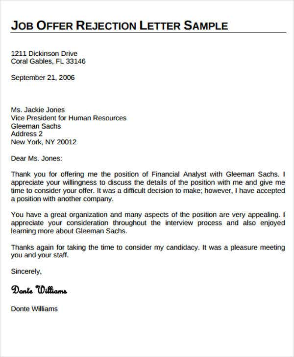 Offer Rejection Letter Template