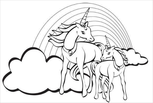 unicorn color page - 9 rainbow coloring pages jpg ai illustrator download